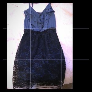 Blue and black lace cocktail dress